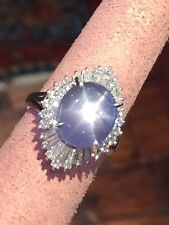 9.48 ct Star Sapphire and Baguette Diamond Ring in Platinum - HM1581SB