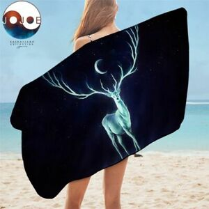 Nightbringer by Jojoesart Bath Towel Bathroom Elk And Moon Beach Towel Yoga Mat