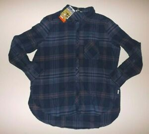 ORVIS Womens Flannel Shirt Fleece Lined Navy Pink Plaid Long Sleeve S Small NWT