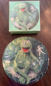 "Vintage Springbok 1979 MUPPETS Mini Jigsaw Puzzle Kermit the Frog 60pc 7"" Dia."