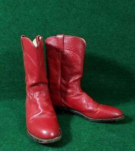 Justin Red Roper Mens Boots, Round toes, Size 10.5 D, NICE Cowboy Western