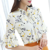 Summer Women Ladies Chiffon Blouse Floral Print T Shirt Short Sleeve Tops Blusas