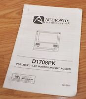 """Audiovox (128-6895) Owner Manual For Portable 7"""" D1708PK LCD Monitor DVD Player"""