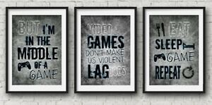 Playstation Set Of Three Prints Blue Gamer Boys Bedroom Decor Home Console A4