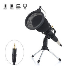 Pro Mic Condenser Microphone Kit with Tripod Pop Filter 3.5mm For PC Phone F8E5