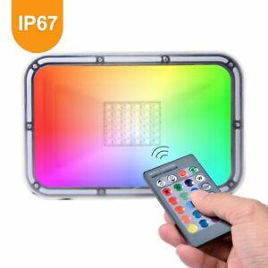 RGB LED Fluter Außen Strahler Flutlicht Scheinwerfer Garten Lampe IP65 10-100W