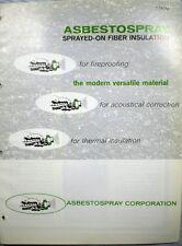ASBESTOSPRAY Sprayed ASBESTOS Insulation Fireproofing Acoustical Catalog 1971