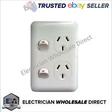 Vertical Slimline Wafer Double Power Point GPO White Slim Socket Electrical 10A
