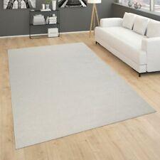 Teppich Für Wohnzimmer Einfarbig  Kurzflor Schlicht Und Modern, In Creme