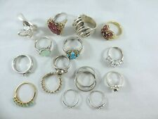 WHOLESALE LOT STERLING SILVER 15pcs RINGS - ASSORTED SIZES & STYLES 78.3 GRAMS