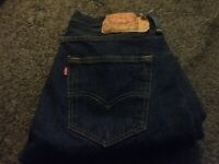 Vintage LEVI'S 501's Button Fly Men Red Tab STRAIGHT LEG Tag 32X30 Dark Blue