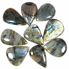 9 Pcs Natural Labradorite Loose Pear Cabochon Gemstones Wholesale 46mm-54.66mm