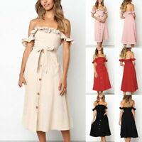 Casual Women Sleeveless Off Shoulder Dress Button Evening Party Beach Sundress