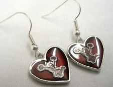 Red Heart Cheer Cheerleader Earrings - French hook - Free shipping
