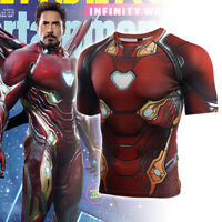 Ironman Avengers Marvel Costume Cosplay Shirt Compression Quick-Drying T-shirt
