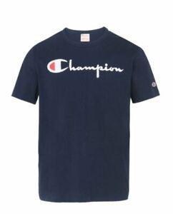Champion Men's Blue T-Shirt - Felt Lettering  - Medium