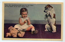 Dutch card Child, begging dog & teddy - posted 1959 - slight crease so reduced