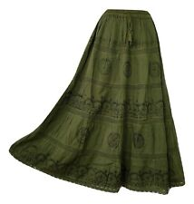 Cotton Skirt Lace Embroidered Gypsy Boho Festival Army Green 10 12 14 16 18 20