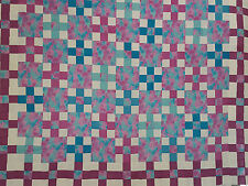 Unfinished Quilt Top-Pink & Blue Cat Block, Turquoise&Purple-Nine Patch, 64.5x70