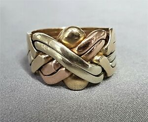 9CT GOLD PUZZLE RING. TRICOLOUR GOLD 14.22 GRAMS. SIZE W / X. CHUNKY.  ref:ceod.