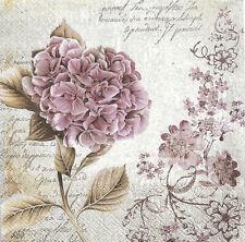 Lot de 2 Serviettes en papier Hortensia Vintage Decoupage Collage Decopatch