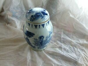 1800 Antique Chinese Canton Blue & white Porcelain Jar Vase with Lid Qing