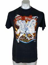 3D Emblem Harley Davidson Ride With The Wind T Shirt Large Single Stitch Vintage
