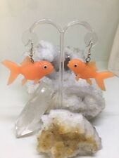 Off Goldfish Statement Earrings Funky Unique Handcrafted / One