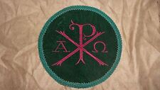 Chi-Rho Vestment Center 9in Green Velvet Circle & Green trim With Red Chi-Rho