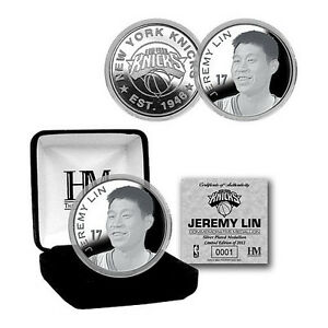 New York Knicks Jeremy Lin Silver Plated Medallion in a Gift Box COA