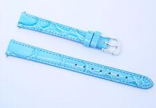 12mm-L (12mm LONG) Blue Gator Grain Leather Women/Ladies Sport/Dress Watch Band