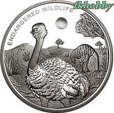 Congo 2009 silver 10 franc Struś Ostrich Strauß Birds Vögel Ptaki Oiseau