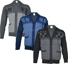 New Mens Knitted Classic Button Front Up Cardigan Grandad Jumper S M l XL