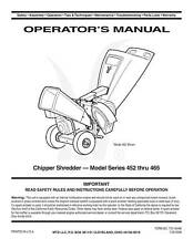 MTD Chipper Shredder Manual Model No. 452 thru 465