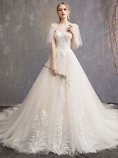 lace short sleeve wedding dress full-length ball gown tulle bridal gown