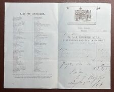 More details for 1874 s. rogers, family chemist, fore street, shaldon, teignmouth invoice