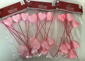 3 Packs Valentine Heart Pink Glitter Picks Foam Craft Floral Wedding Sweetheart
