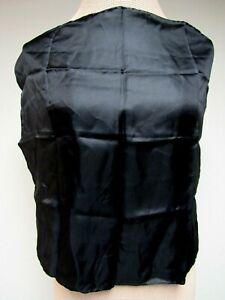 VTG Black Satin Silk Men's Pocket Scarf 18 1/2 Square Hand Rolled Hem EUC