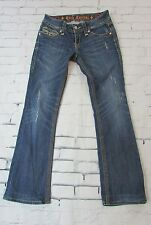 Woman's Rock Revival Jeans Leona Boot Cut Thick Stitching Distressed 28 As- Is