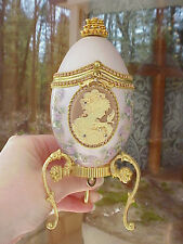 REAL Carved Goose Egg Jewelry/Keepsake/Trinket/Cameo Crystal Gift Music Box