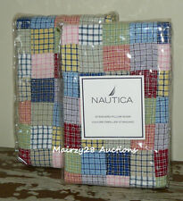 NEW Nautica TATTERSALL Quilted PATCHWORK Postage Stamp STANDARD PILLOW SHAMS (2)