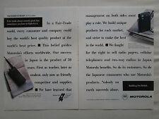 10/1990 PUB MOTOROLA JSMR TWO WAY RADIO SYSTEM PAGER JAPAN ORIGINAL AD