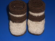 CROCHET HANDMADE BABY INFANT GIRL DOLL BOOTIES BOOTS SHOES ECRU & BROWN
