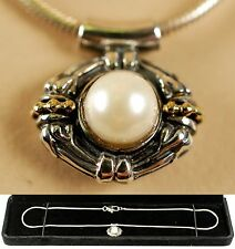 "LAGOS 18K Gold Silver 2-Tone 6mm Pearl Pendant 16"" Necklace Women Lady Gfit NEW"