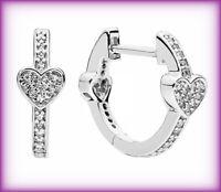 New Pandora Genuine Alluring Hearts Hoop Earrings 297290CZ