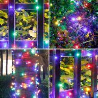 100 LED Solar Lichterkette Party Weihnachten Innen Außen Garten Freien Deko Bunt