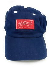 Budweiser King Beers Navy Blue Sewn Patch Adjustable Strapback Baseball Hat Cap