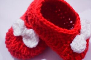 Crocheted Handmade With Love Baby Booties knit Red Gift Newborn Photo Prop