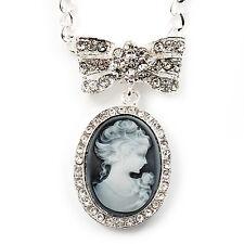 """Diamante """"CAMEO Con Collana con Pendente Fiocco"""" in argento anticato finitura in metallo - 56cm"""