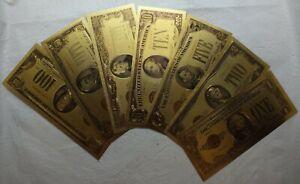 1928 Gold Certificate $1 $2 $5 $10 $20 $50 $100 Novelty Gold Foil Notes LG610